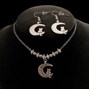 Silver plated moon & cat earrings & necklace set